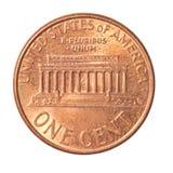 монетка одно цента стоковое фото