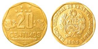 Монетка 20 перуанская centimos sol nuevo Стоковое Изображение