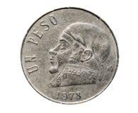 1 монетка песо (циркуляция Эстадоса Unidos Mexicanos) Банк Mexi стоковое фото rf