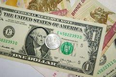 Монетка рубля, счет, доллар Стоковое фото RF