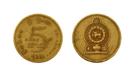 Монетка рупии 5 Sri Lankan Стоковое Изображение RF