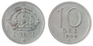 10 монетка руды 1944 изолированная на белой предпосылке, Швеции Стоковые Фотографии RF