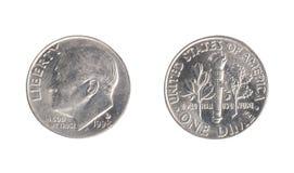 Монетка США, номинальная стоимость 1 монета в 10 центов, от 1998 Стоковое Изображение RF