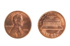 Монетка США, номинальная стоимость 1 цента, от 1988 Стоковые Фотографии RF