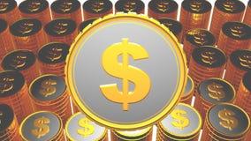 Монетка с знаком денег и много на заднем плане Стоковое Фото