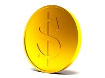 Монетка с знаком доллара на белой предпосылке Стоковое Изображение