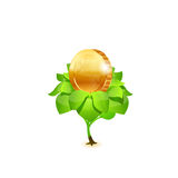 Монетка с листьями вектор Стоковая Фотография RF
