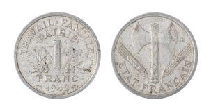 Монетка Франции, 1 франк, изолированный на белизне стоковая фотография rf