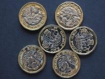 монетка 1 фунта, Великобритания Стоковые Фото