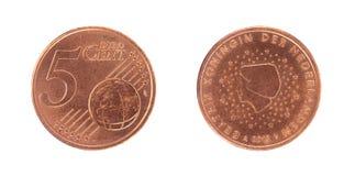 монетка цента евро 5 Стоковое фото RF