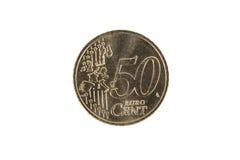 Монетка цента евро 50 Стоковое Изображение
