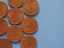 1 монетка цента, предпосылка Европейского союза с космосом экземпляра Стоковое Изображение RF