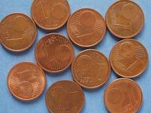 1 монетка цента, предпосылка Европейского союза Стоковая Фотография