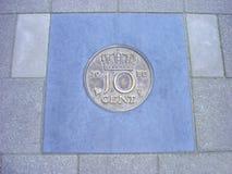 Монетка 10 центов в выстилке Стоковая Фотография RF