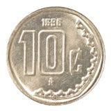 монетка 10 центов мексиканского песо Стоковое Изображение