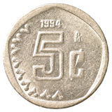 монетка 5 центов мексиканского песо Стоковая Фотография RF