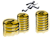 монетка шаржа финансовохозяйственная иллюстрация штока