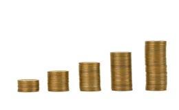 Монетка Японии и деньги золота на столе Стоковое Изображение RF