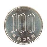 монетка 100 японских иен Стоковое Фото