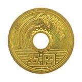 монетка 5 японских иен Стоковое Фото