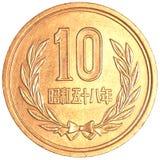 монетка 10 японских иен Стоковые Фото