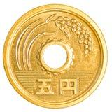 монетка 5 японских иен Стоковые Фото