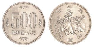 монетка 500 японских иен Стоковые Фотографии RF