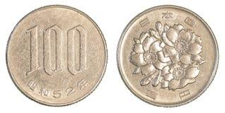 монетка 100 японских иен Стоковое Изображение RF