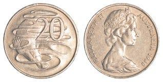 монетка 20 австралийских центов Стоковое Изображение