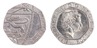 монетка 20 великобританская пенни Стоковое Изображение RF