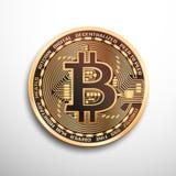 Монетка Bitcoin золотая Стоковые Изображения RF