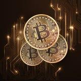 Монетка Bitcoin золотая Стоковое Изображение RF