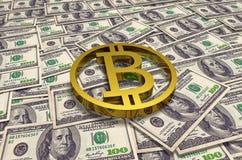 Монетка bitcoin золота на предпосылке 100 банкнот доллара на таблице дело 3d высокое как качество представляет успех unachievable стоковая фотография