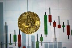 Монетка bitcoin на предпосылке экрана Стоковые Фото