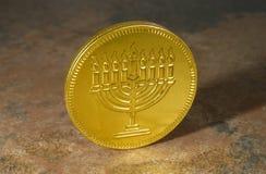 монетка chanukah счастливая Стоковая Фотография