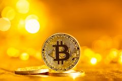 Монетка cryptocurrency Bitcoin Стоковая Фотография