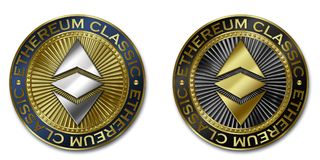 Монетка cryptocurrency ETHEREUM КЛАССИЧЕСКАЯ Стоковое фото RF