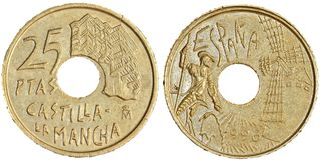 Монетка 25 Peseta Стоковые Фотографии RF