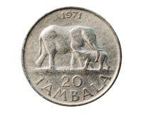 Монетка 20 Tambala, циркуляция (Kwacha) Банк Малави Obverse, стоковая фотография
