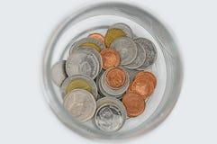 Монетка Thialand в стеклянном бате Стоковая Фотография