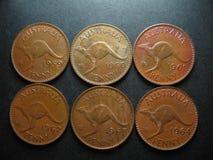 Монетки Австралийские пенни Стоковые Изображения RF