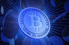 Монетки бита, виртуальная валюта Стоковое Изображение