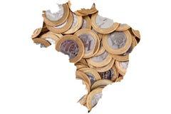Монетки бразильянина 1 реальные и 100 бумажных денег Reais Стоковые Изображения
