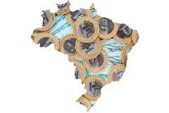 Монетки бразильянина 1 реальные и 100 бумажных денег Reais Стоковое Изображение