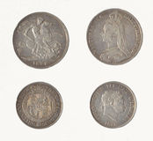 Монетки Великобритания кроны & полкроны Стоковое Фото