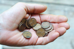монетки вручают много Стоковая Фотография RF