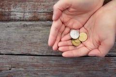 Монетки в приданных форму чашки ладонях Стоковое Фото