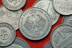 Монетки Германии Немецкий орел Стоковое Изображение RF