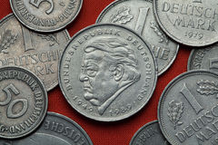 Монетки Германии Немецкий политик Frantz Josef Strauss Стоковое Изображение RF