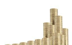 монетки дробят белизну на участки Стоковое Изображение